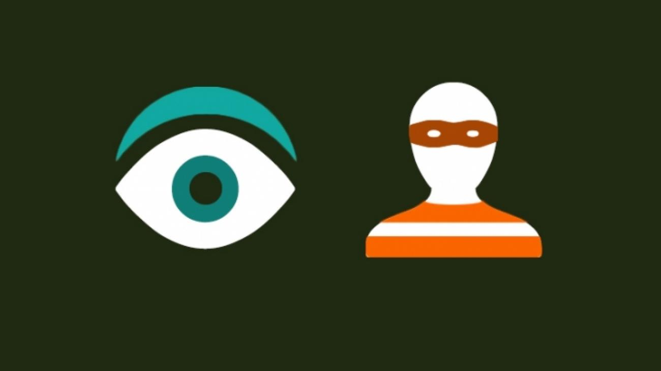 Illustration of eye ball next to masked person