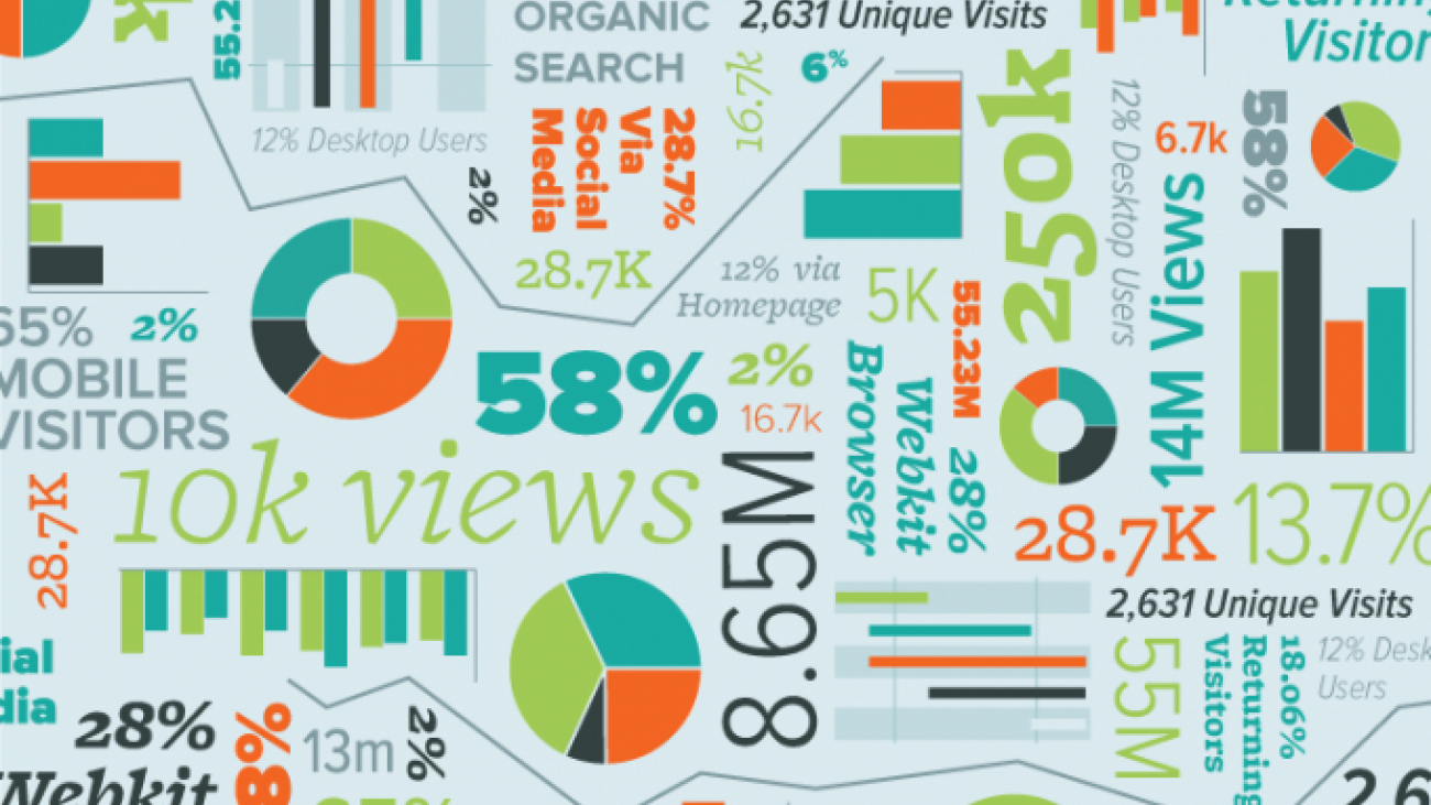 Illustrated collage of website statistics