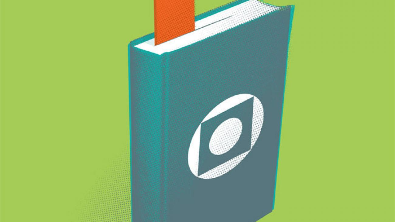 Graphic of a book with an arrow pointing up being used as a bookmark