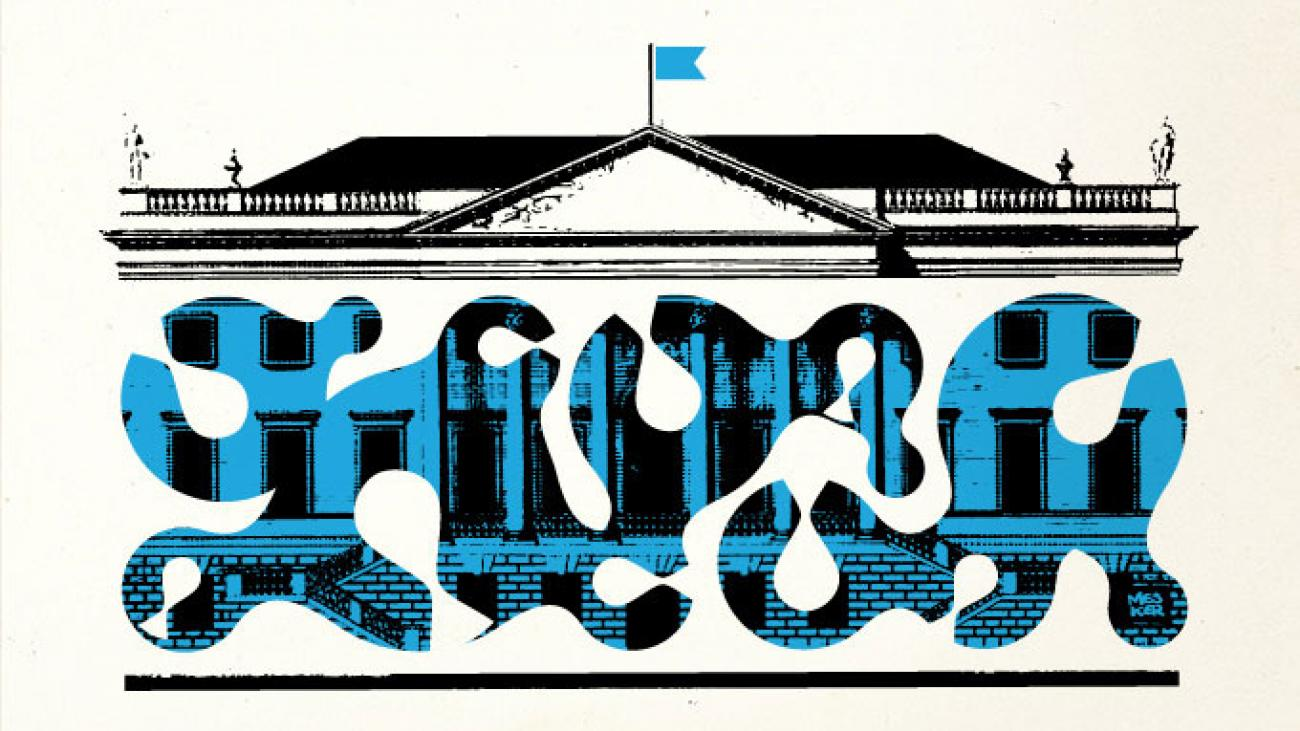 Illustration of large house with columns with blue design over the front.