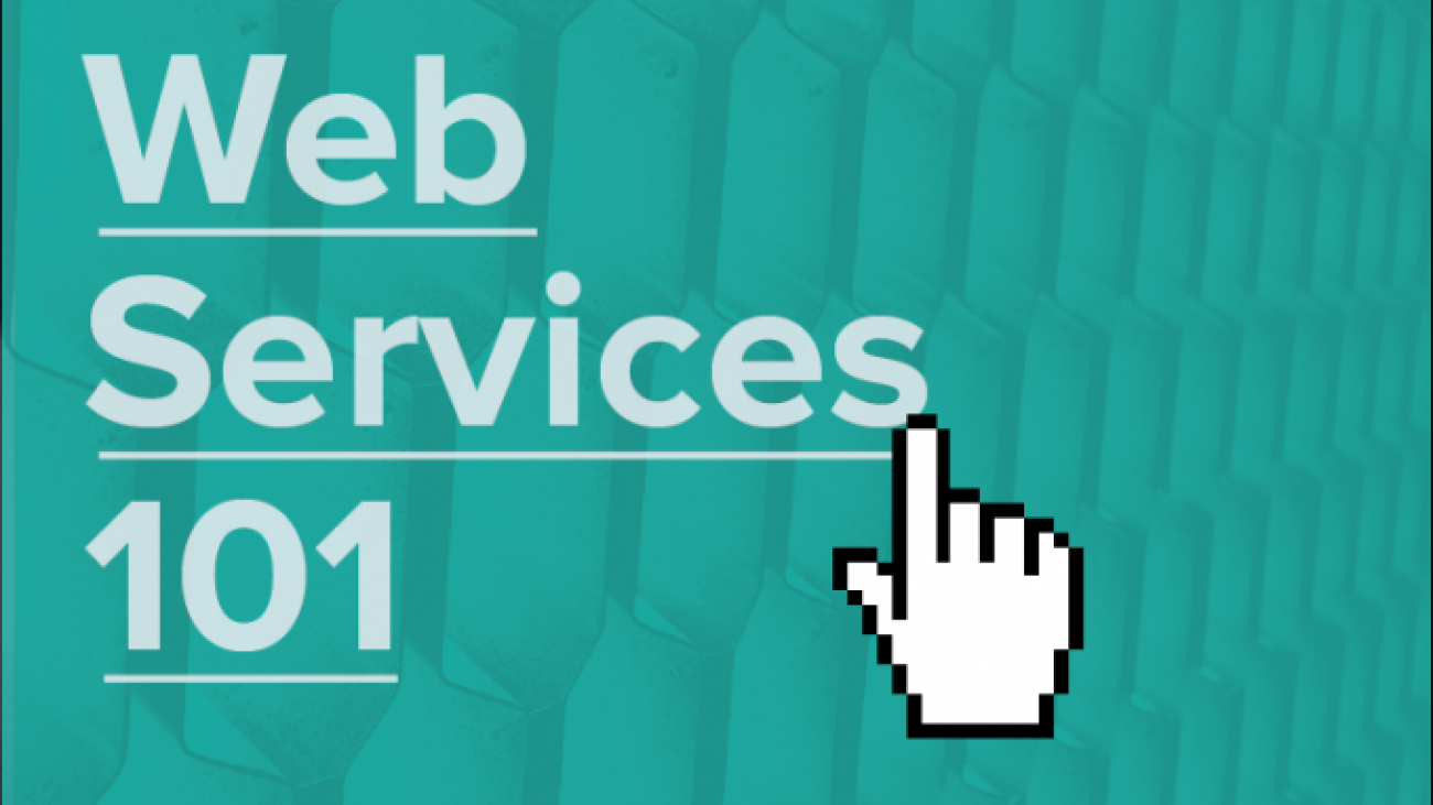 """Web Services 101"" with computer mouse hand icon"