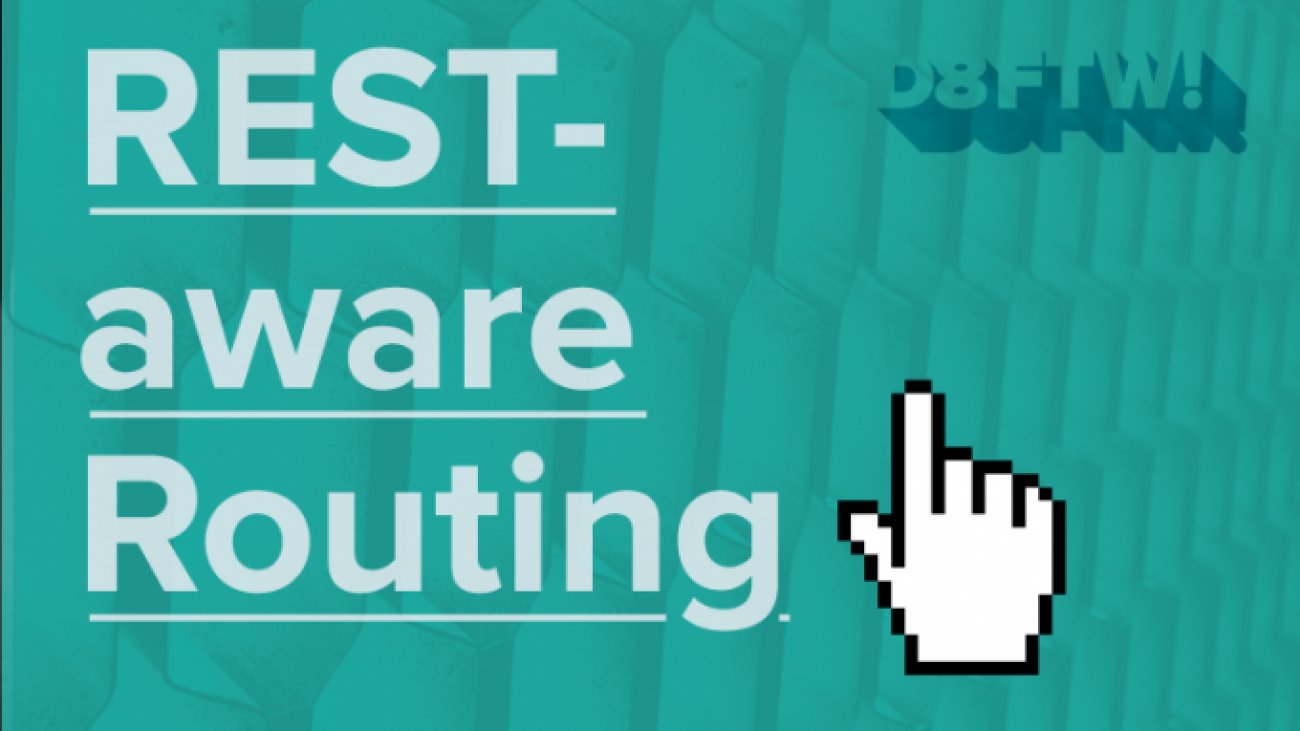 """REST-aware Routing"" text with computer mouse hand icon"