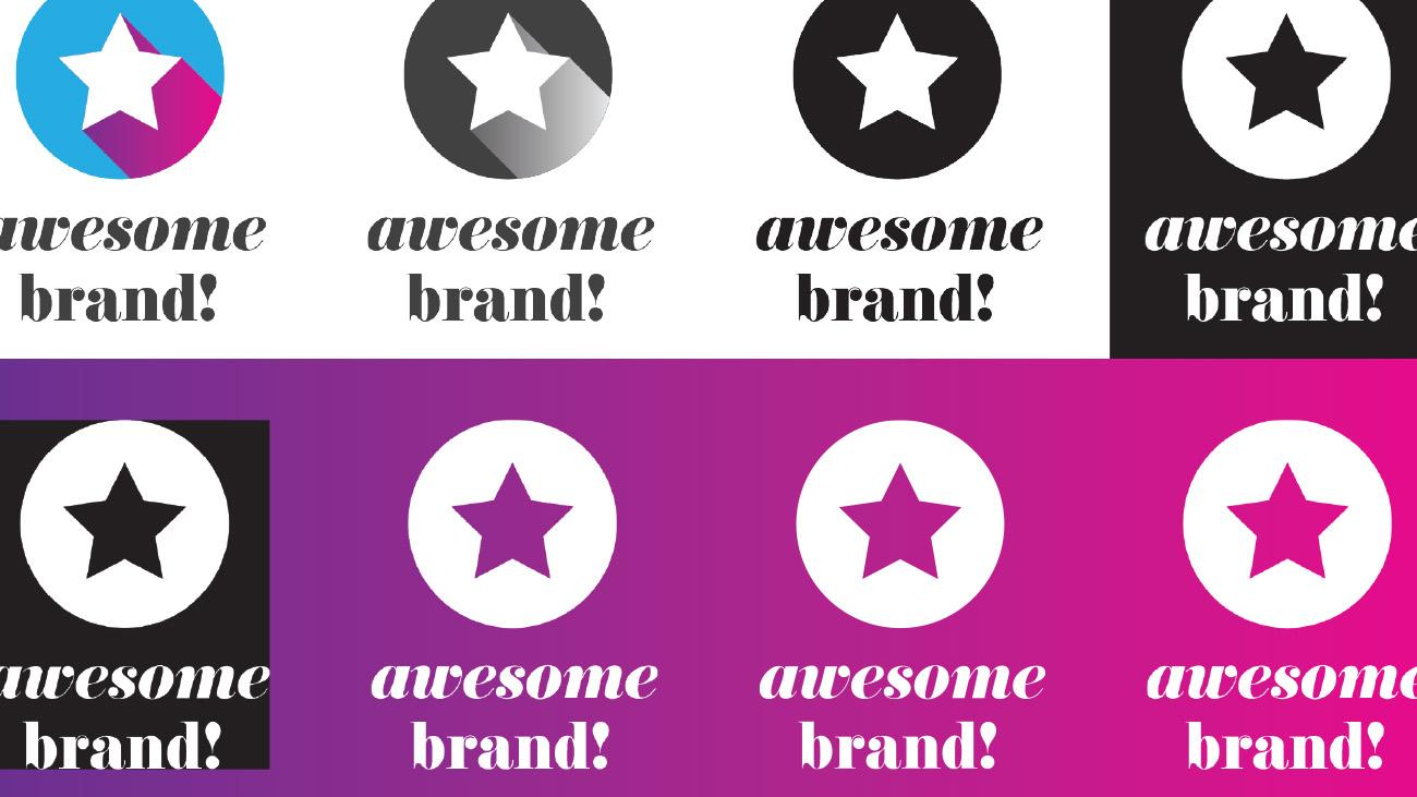 "Different versions of star logo in grid with text ""awesome brand!"""