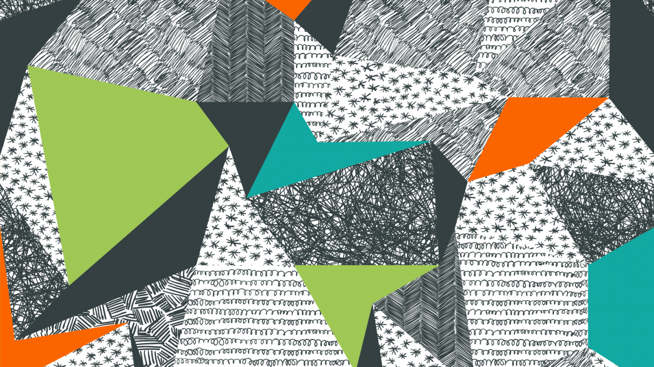 Illustration of triangular shapes in teal, green, orange and black