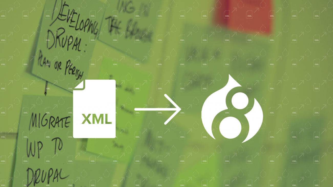 Icons of XML file, arrow, and Drupal 8 logo
