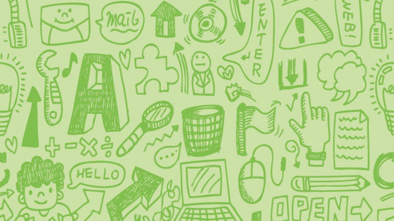 Illustrated collage of website icons