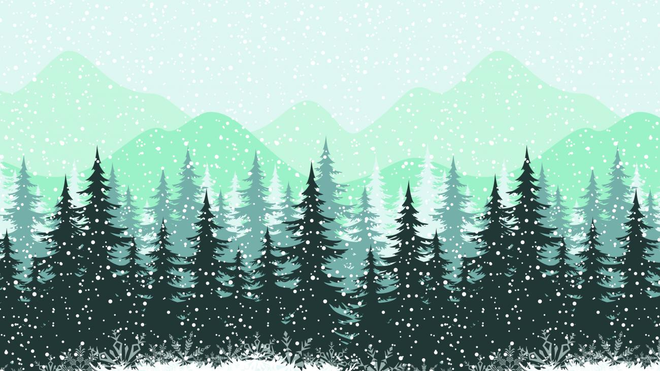 Illustration of trees and snowy scene
