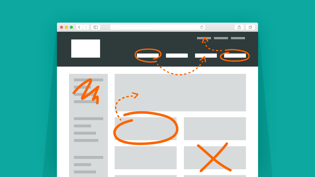 Illustration of hand-marked edits on wireframe of website