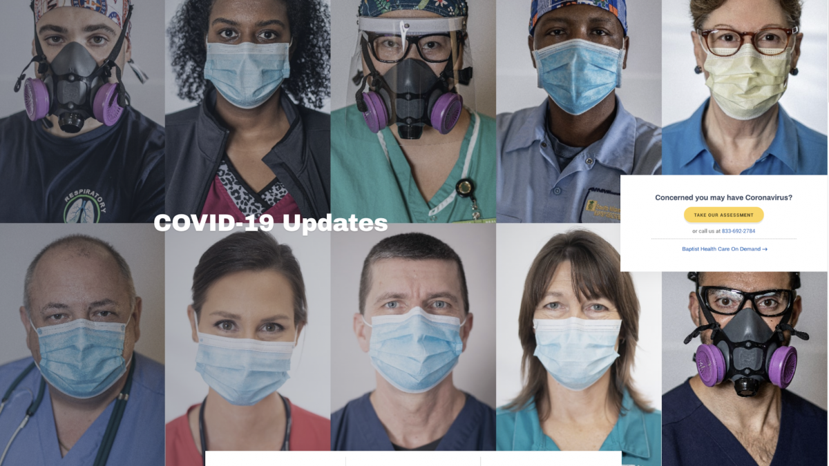 Baptist Health's COVID-19 resources portal home page with photos of health care professionals wearings masks