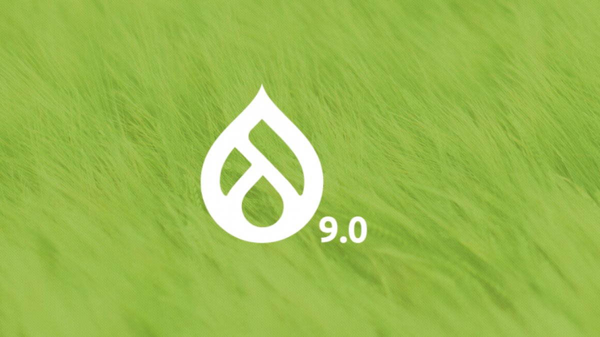 Drupal 9 logo against a backdrop of green grass