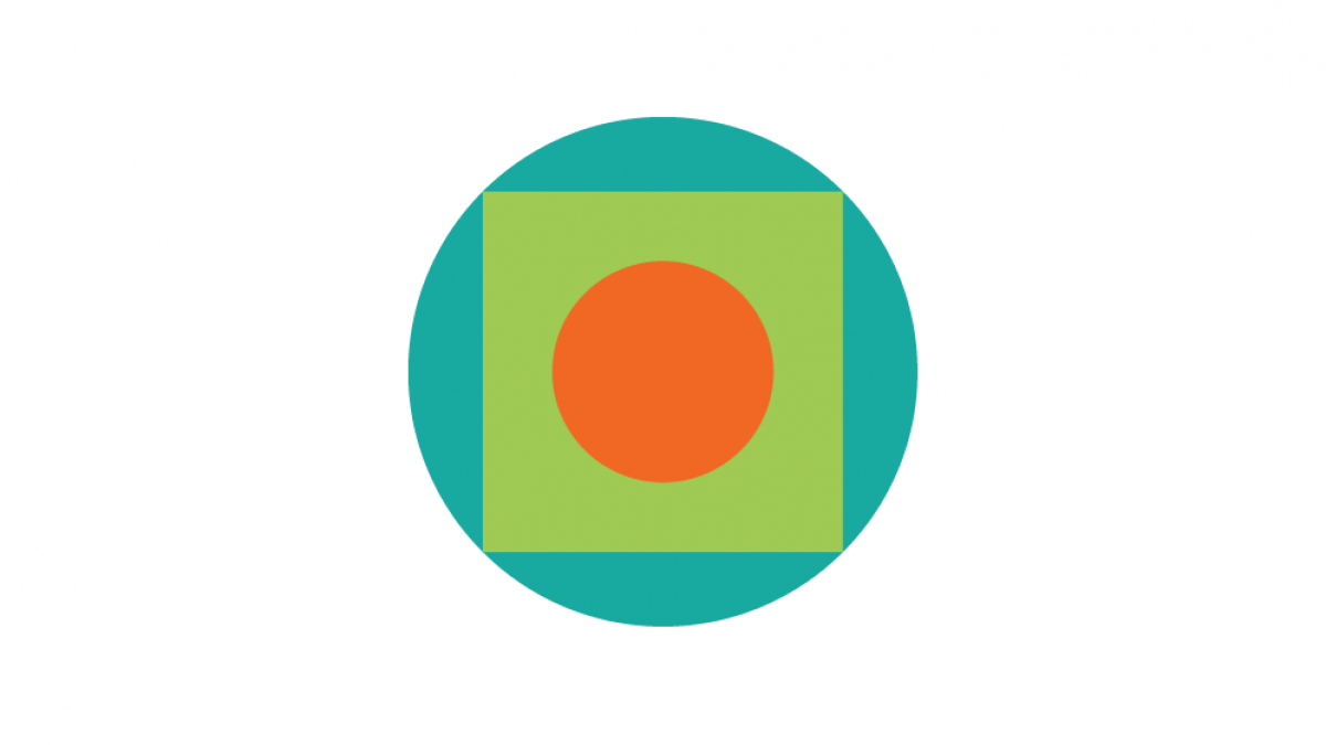 Palantir.net logo of a orange circle surrounded by a light green square and a darker green circle.
