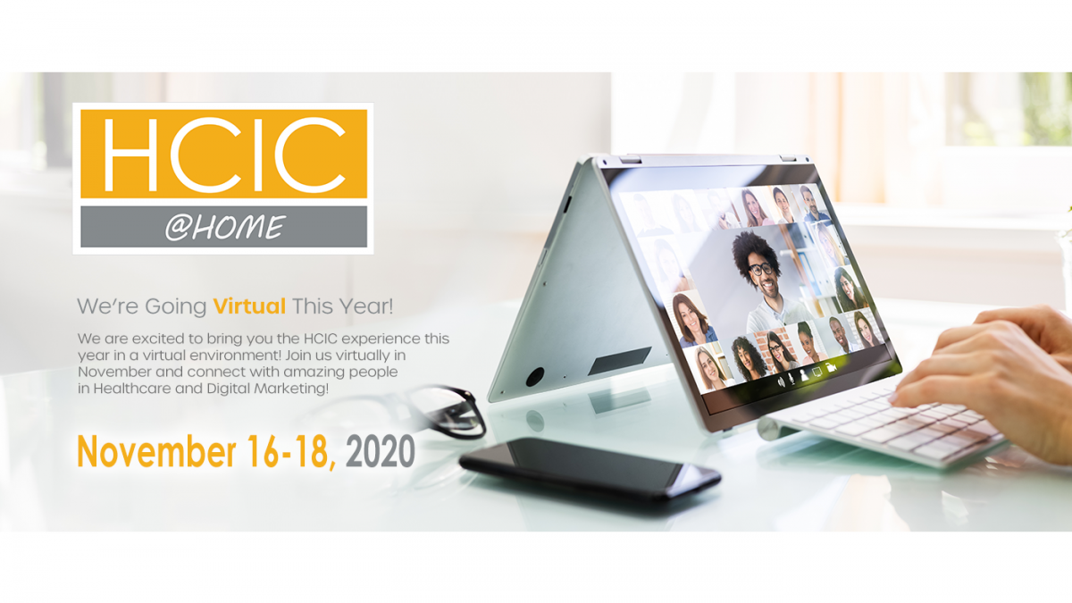 HCIC logo with a photo of a person on a video conferencing call.