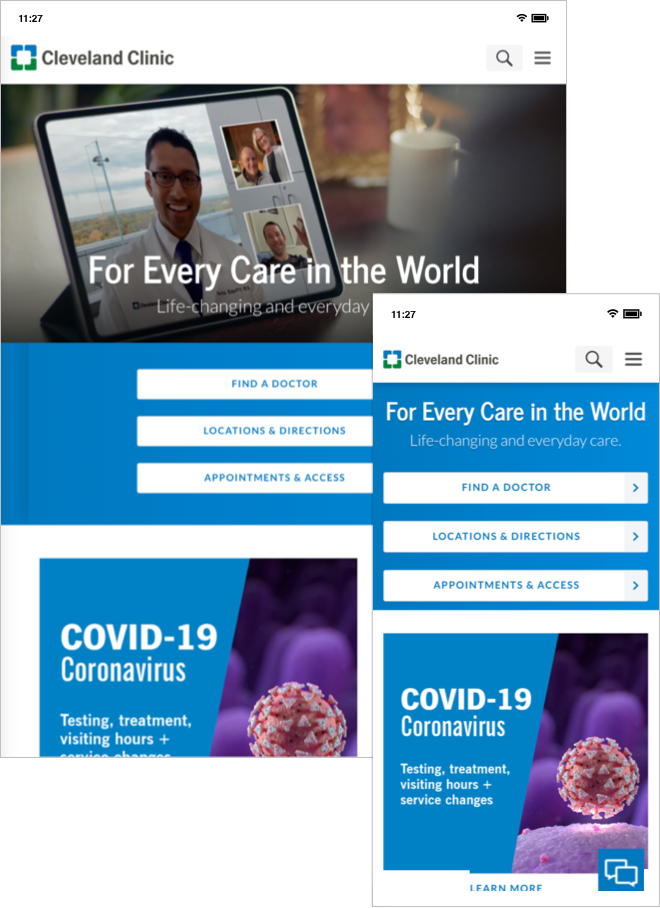 Cleveland Clinic desktop and mobile homepages